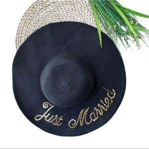 Francesca's • Just Married Sequin Oversized Sunhat